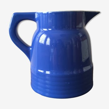 Pitcher of table old ceramic color bright blue