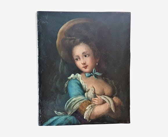 Tableau ancien huile sur toile portrait de jeune fille au perroquet