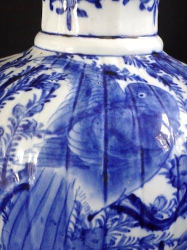 Ancien vase Japonais blanc bleu 54cm oiseau Japon XIX