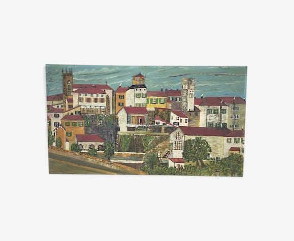 Huile sur bois «ville» Bernier 90 x 50 cm