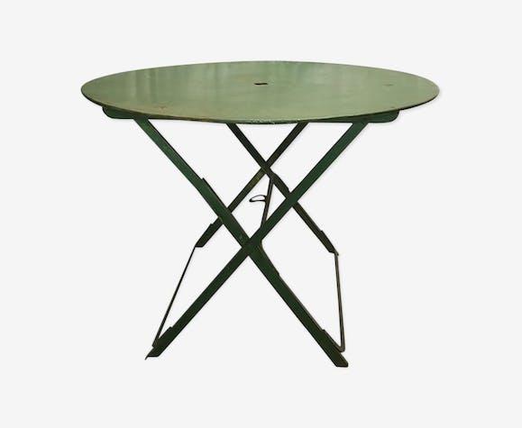 Table de jardin pliante en fer - fer - vert - vintage - sD7c6j5