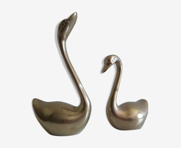 Pair of swans brass