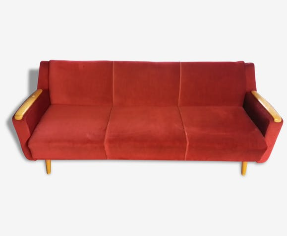 Canapé convertible Daybed sofa années 50/60 rouge cliclac - tissu ...