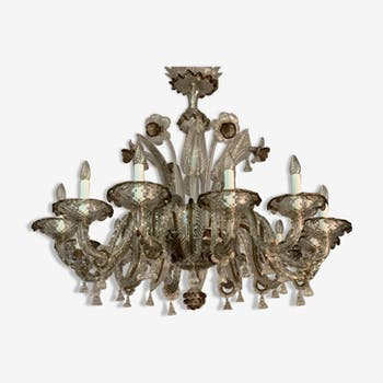 Lustre en verre de murano bicolore, 12 bras de lumière