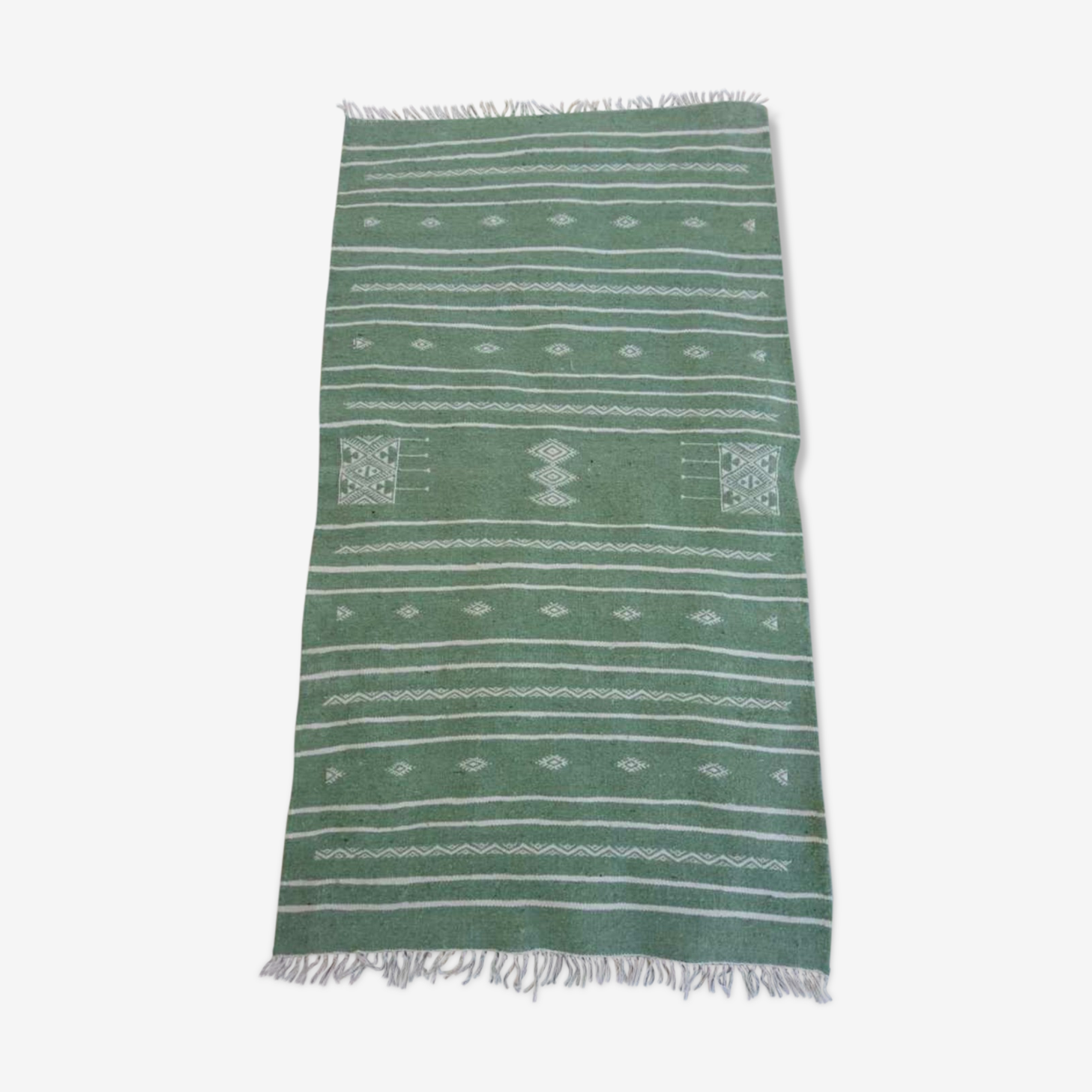 Green Berber Kilim in pure wool 110x63cm