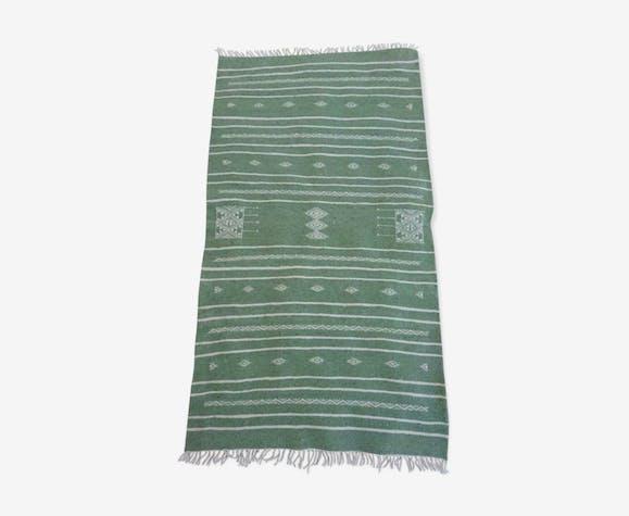 Kilim berbère vert en pure laine 110x63cm
