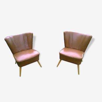 Pair armchairs vintage cocktail