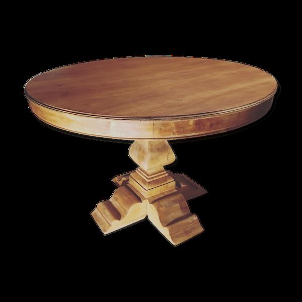 Table ronde bois massif pied central entièrement restaurée