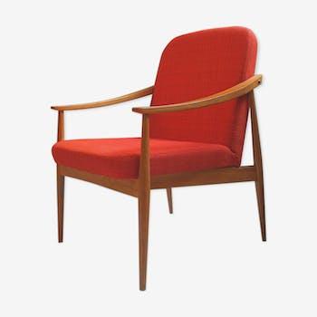 Fauteuil scandinave des années 60 rouge