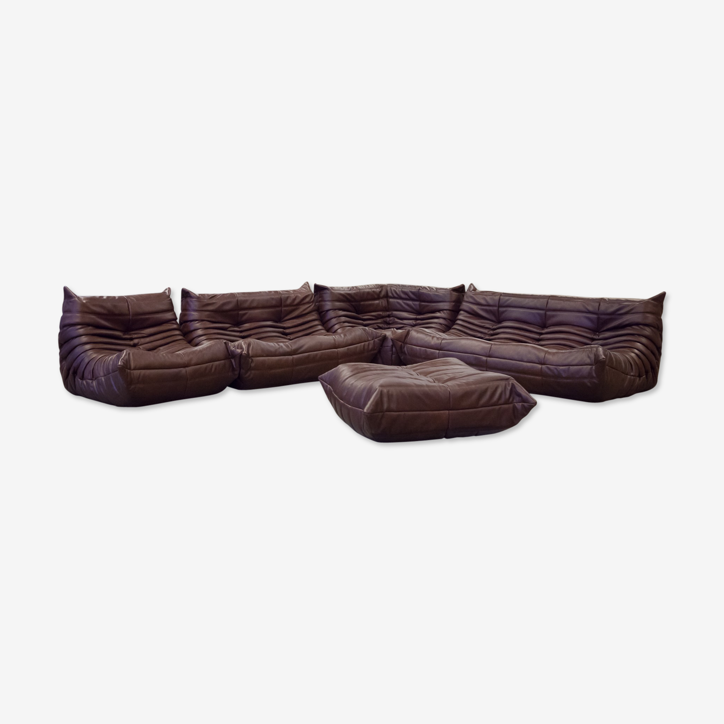 """Set de canapé """"Togo"""" en cuir marron grainé par Michel Ducaroy pour Ligne Roset"""