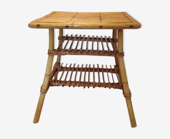 Table vintage rotin
