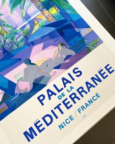 Affiche Palais de la Méditerranée Nice France par Hilaire --  Affiche ancienne originale
