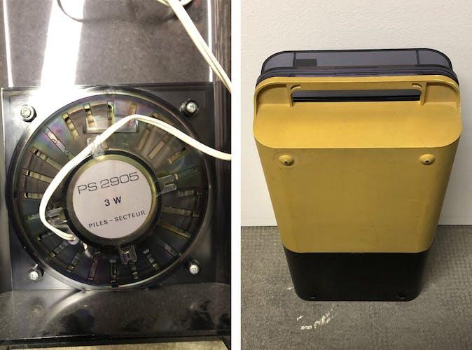Tourne-disque portatif en résine blanche vintage ITT Oceanic