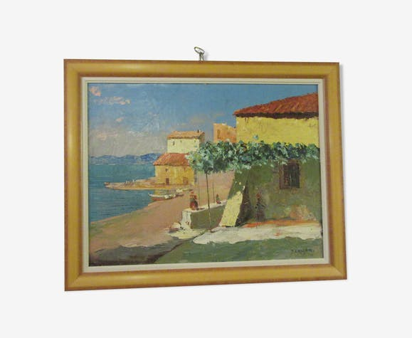Table-oil painting on canvas the old port of st tropez- cascar