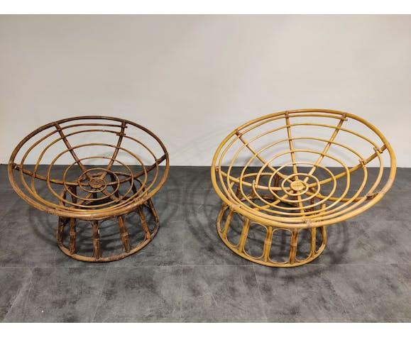 Paire de fauteuils en rotin vintage, années 1970