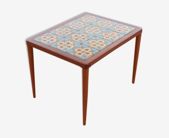 Modern Coffee Table In Teak With Tiles Of Ceramics By H W Klein