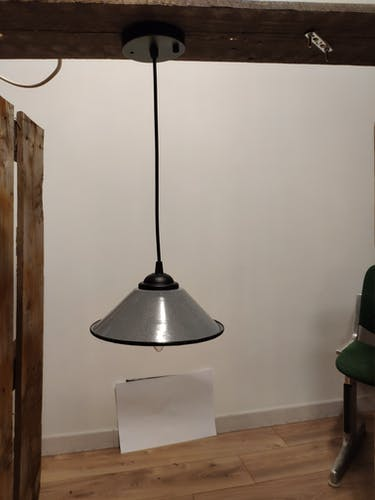 Suspension vintage industrielle émaillée gris bleuté