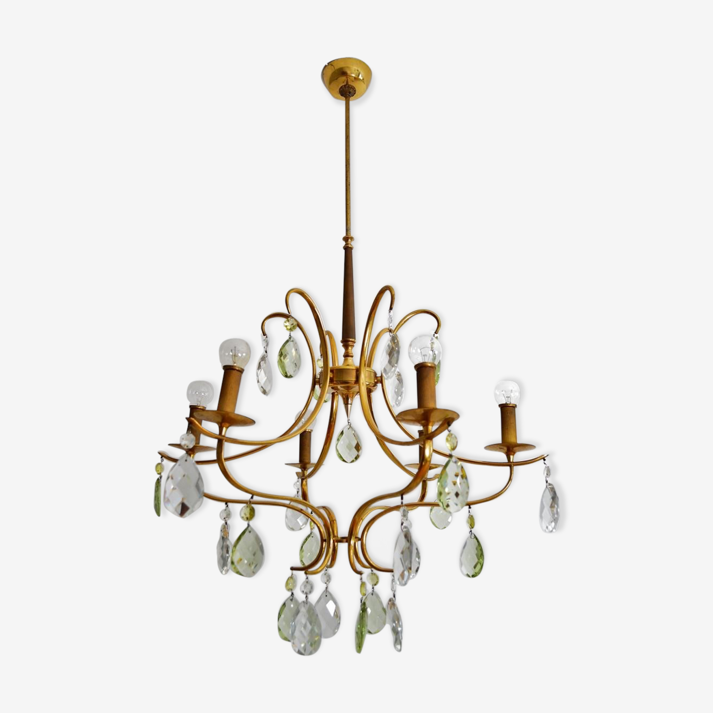 Crystal chandelier with drops in green Murano glass 1950 s