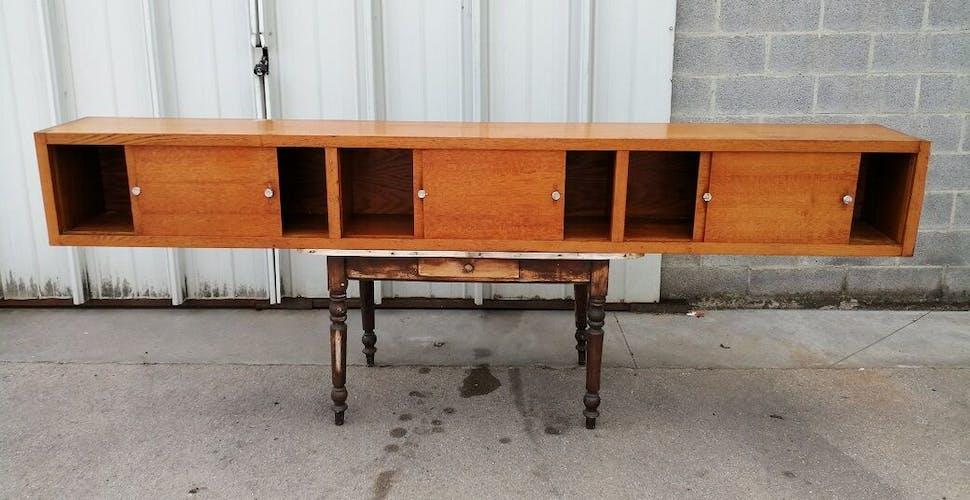 Furniture craft school oak sliding door vintage 1950