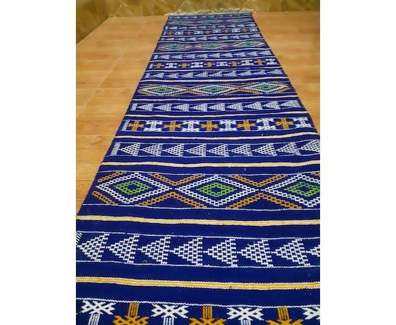 Tapis couloir kilim marocaine berbère bleu 300×70cm