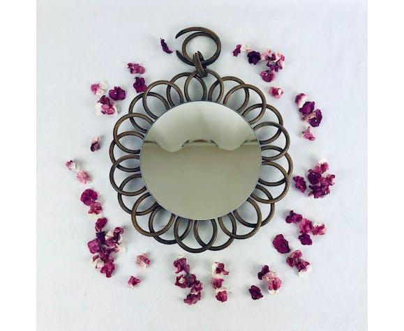 Miroir rond en osier - 26cm