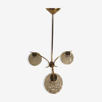 Suspension ancienne lustre laiton avec 3 globes verre moulé années 70 vintage
