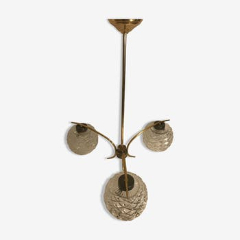 Chandelier old brass, 3 globes molded glass chandelier 70s vintage