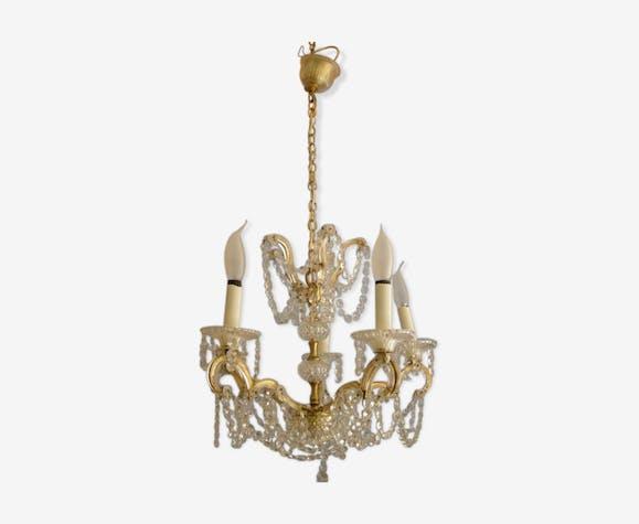 Ancien lustre à pampilles en cristal de strass  corps en laiton  diamètre 45cm