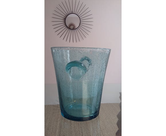 Champagne bucket in bubbled glass from Biot 60s
