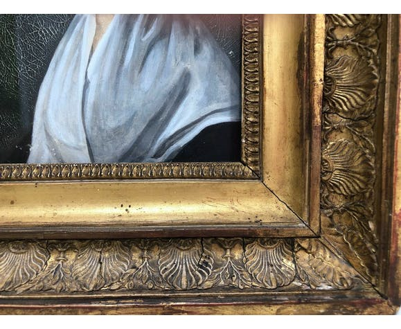 Paire de portraits debut 19eme empire cadre palmettes dorée huile carton