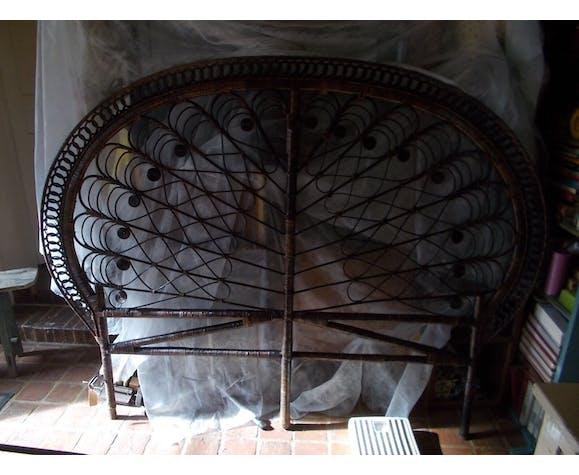 Tête de lit 2 personnes en rotin peacock