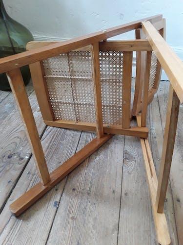 Chaise pliante cannée vintage