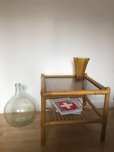 Table basse bambou et verre