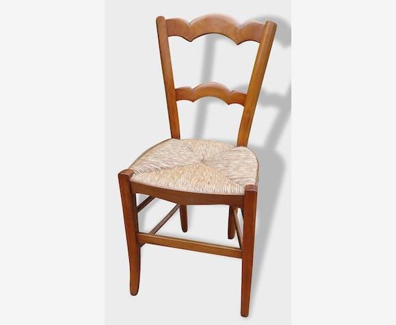 Lot de 6 chaises paillées anciennes en merisier - bois (Matériau ...