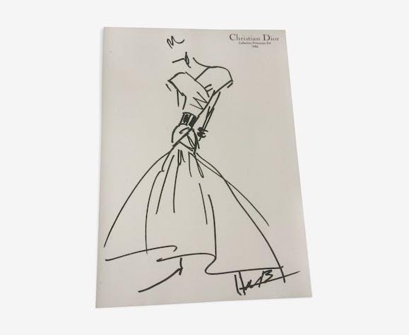 Illustration de mode  vintage et sa photo de presse Christian Dior des années 80