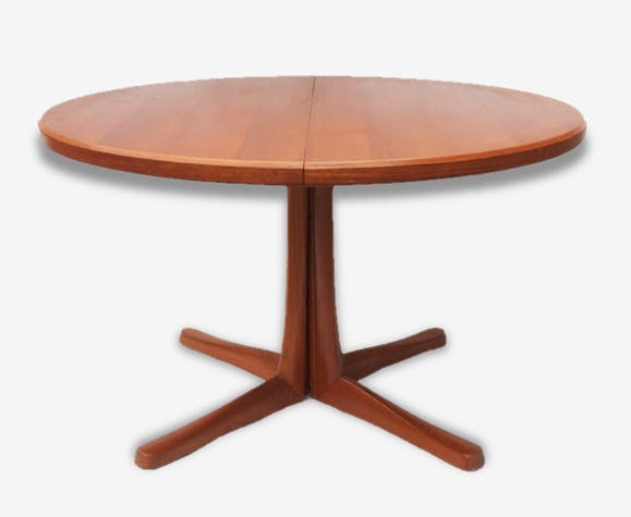 Table Salle A Manger Pied Central Suede Annees 60 70 Bois