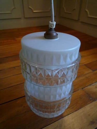 Suspension cylindrique en verre, vintage 70