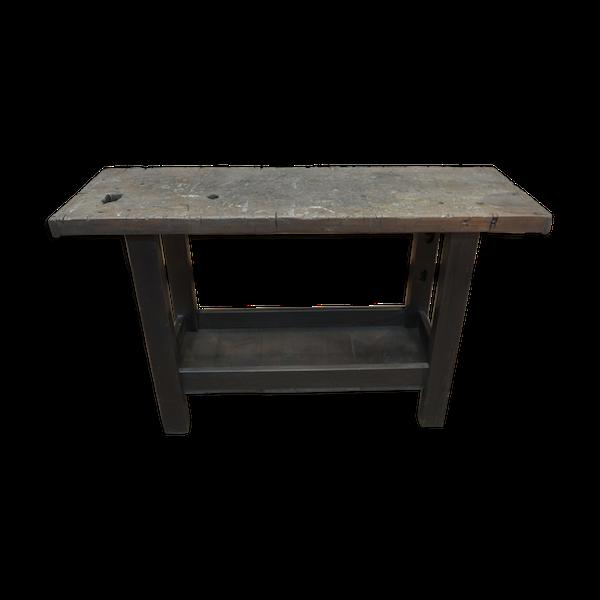 Table console vintage en hêtre années 30
