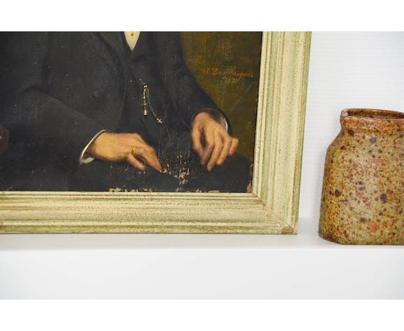 Portrait du XIXème huile sur toile signé Desplanques 1895