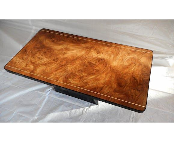 Table basse motif loupe d'orme  80's
