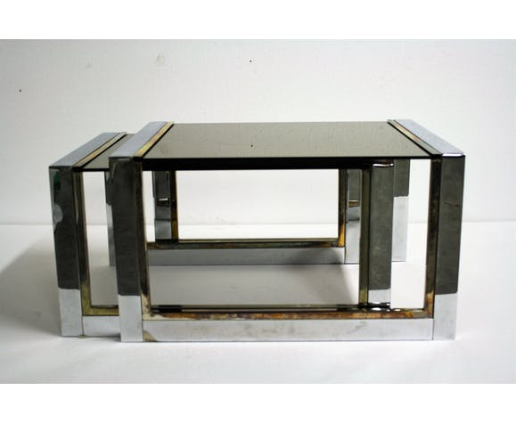 Set of brass and chrome nesting tables, 1970s