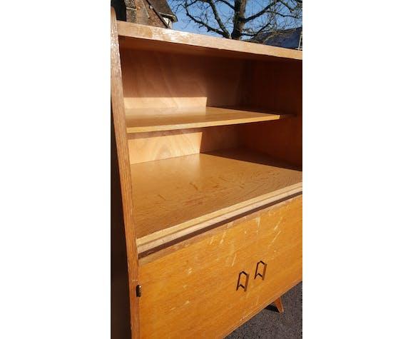Vitrine aileron meuble de rangement 1950 bois clair