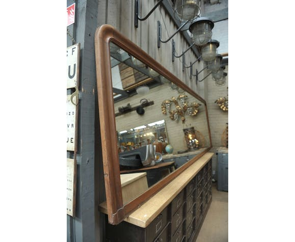 Industrial antique mahogany mirror France 1900s