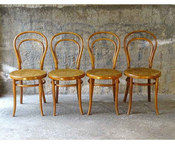 Set de 2 x 2 chaises bistrot Thonet N°14 1890 cannage neuf