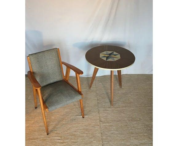 Pair scandinavian armchairs 60
