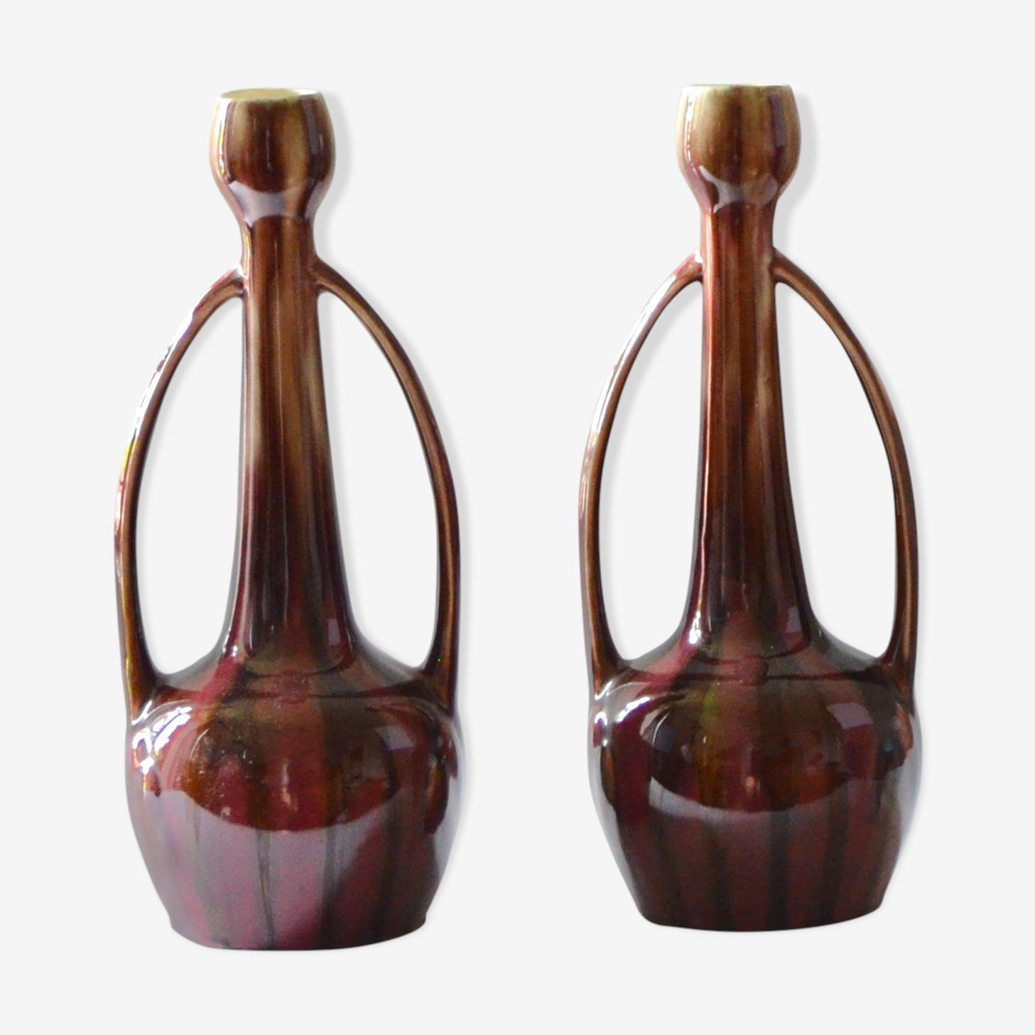 Paire de grande vases art déco