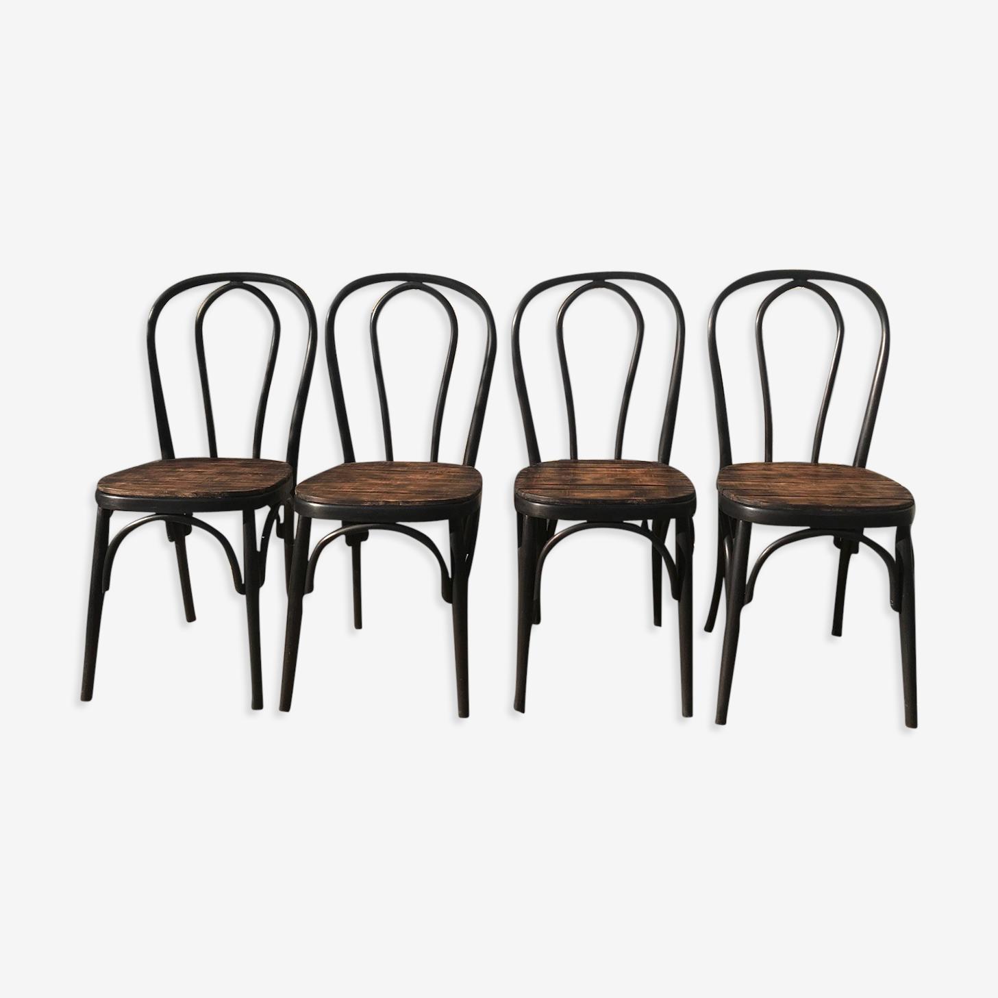 Set of 4 black bistro chairs