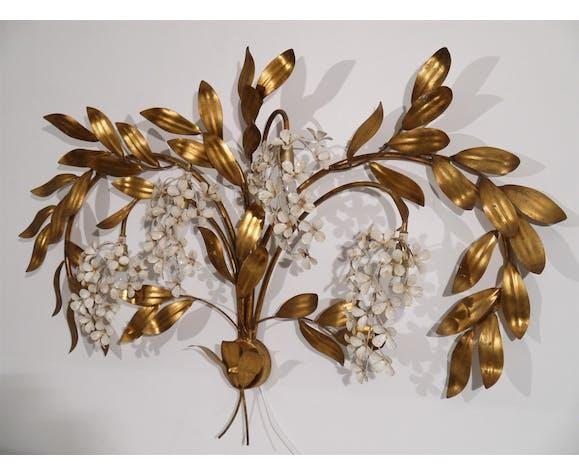 Applique vintage decor de feuillage et fleurs 1970