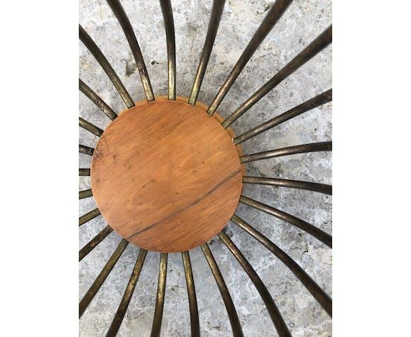 Corbeille a papier en métal argenté et bois vers 1980/1990