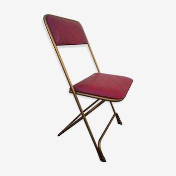Chaise pliable de 1960 en skaï rouge